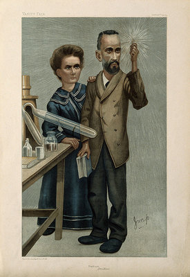 Marie and Pierre Curie, he holding aloft a glowing specimen of radium, 1904, Coloured lithograph after J. M. Price, Wellcome Collection, CC BY