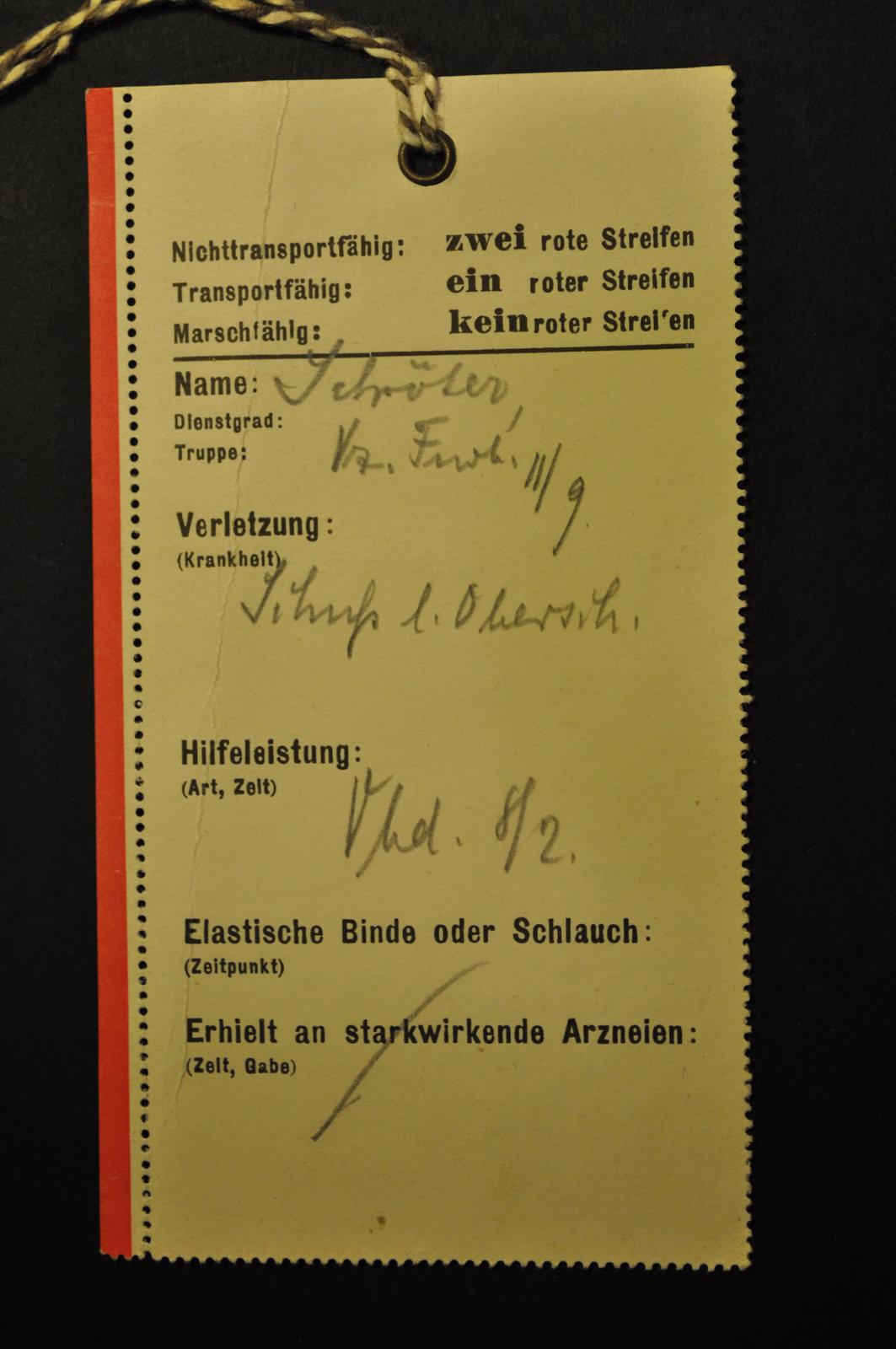 Laufzettel für Verwundete, item 3, February 1915 , Europeana 1914-1918 / Dr. Margrit Behncke, CC BY-SA