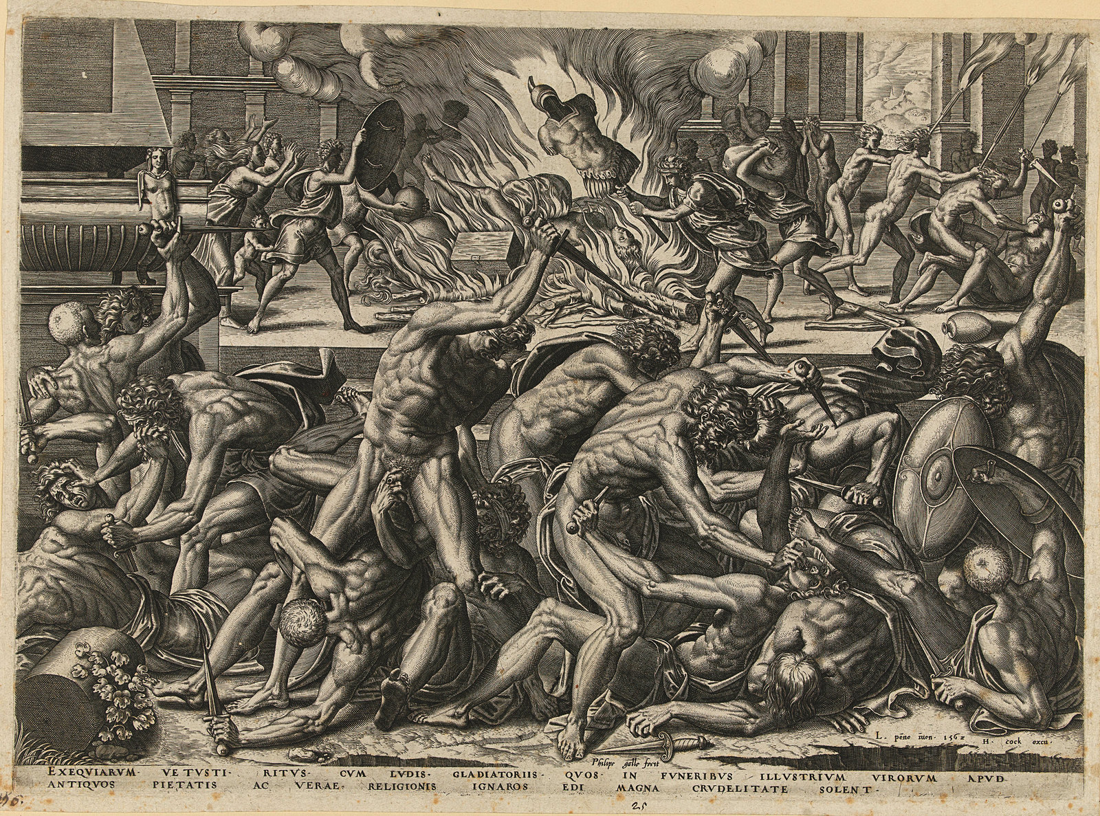 Gevecht van gladiatoren, Galle, Philips 1562, Rijksmuseum , Public Domain Mark
