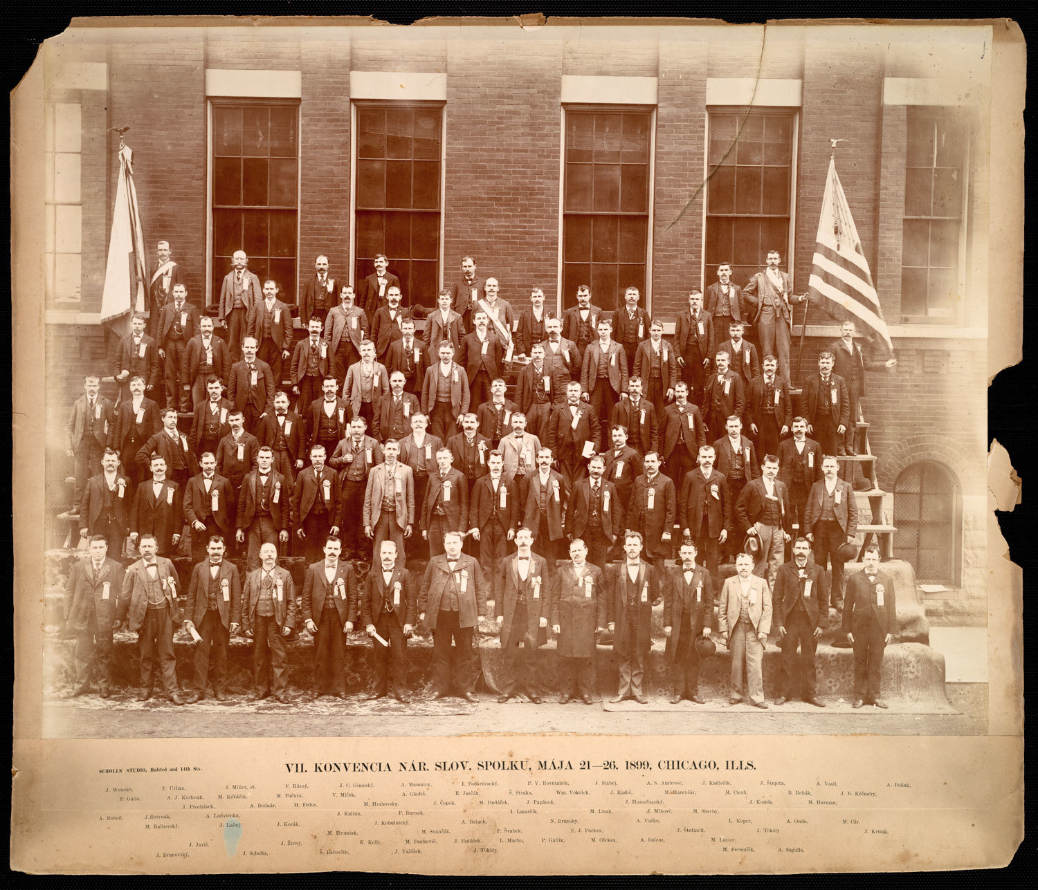 7th convention of the National Slovak Society, Scholl's Studio, Participants in the 7th convention of the National Slovak Society, held on May 21-26, 1899 in Chicago, Illinois. Included are portraits of the founding and leading members of the Society (established in 1890) such P.V. Rovnianek, A.S. Ambrose, A. Mamatey, M. Feriencik, I. Podkrivacky and others. The convention coinicided with a conference of a number of Slavic organizations held in Chicago on May 21-28, 1899 in which the NSS participated as well to promote the concept of unity among the Slavic peoples in America and also to build relationships with other Slavic nationalities, namely the Croats and Czechs., U Media Archive  Immigration History Research Center, In Copyright