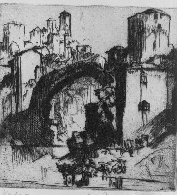 Mostar, 1924, Frank Brangwyn, KIK-IRPA, Brussels, CC BY-NC-SA