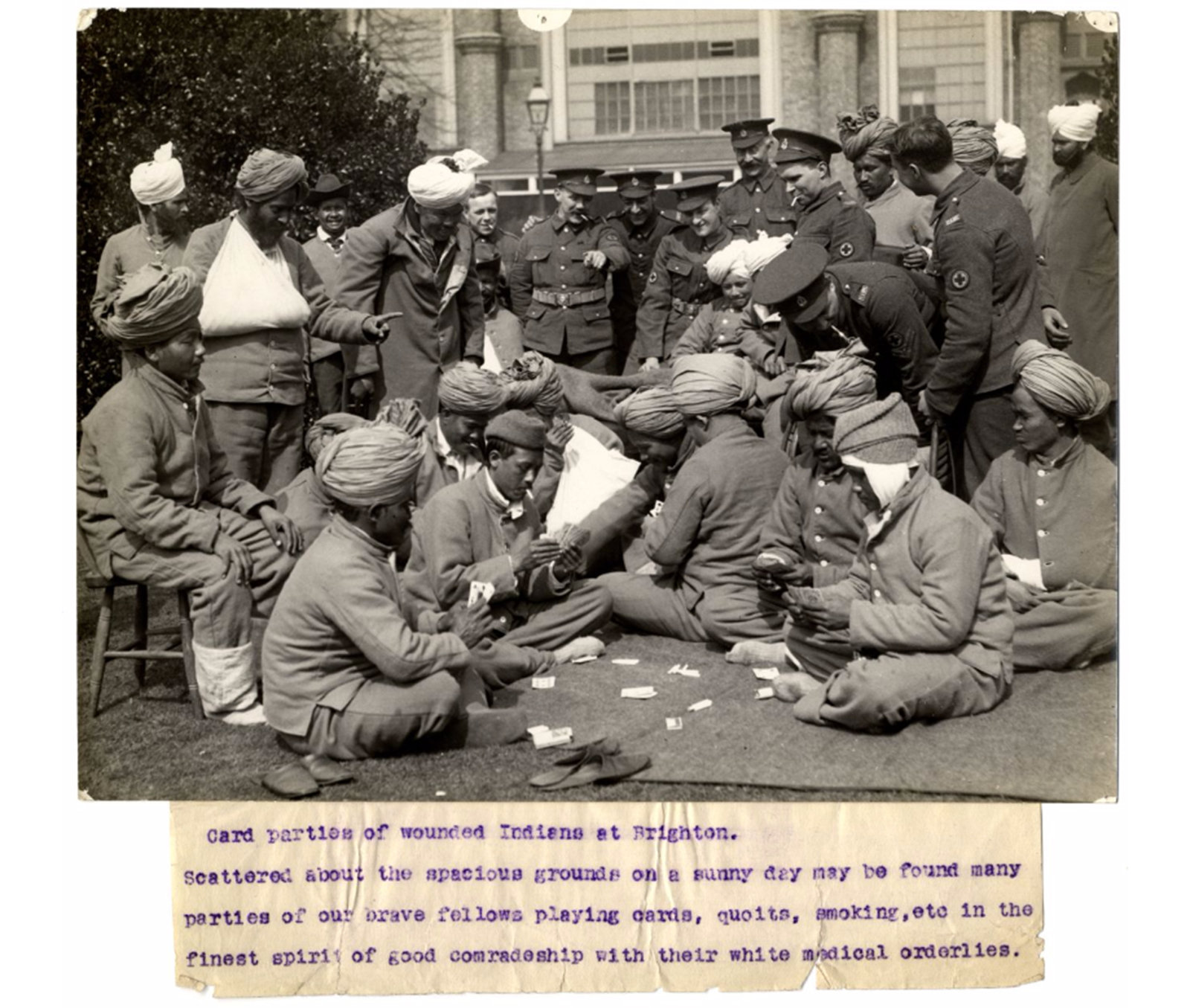 Card parties of wounded Indians at Brighton Hospital, H. D. Girdwood, The British Library , Public Domain Mark