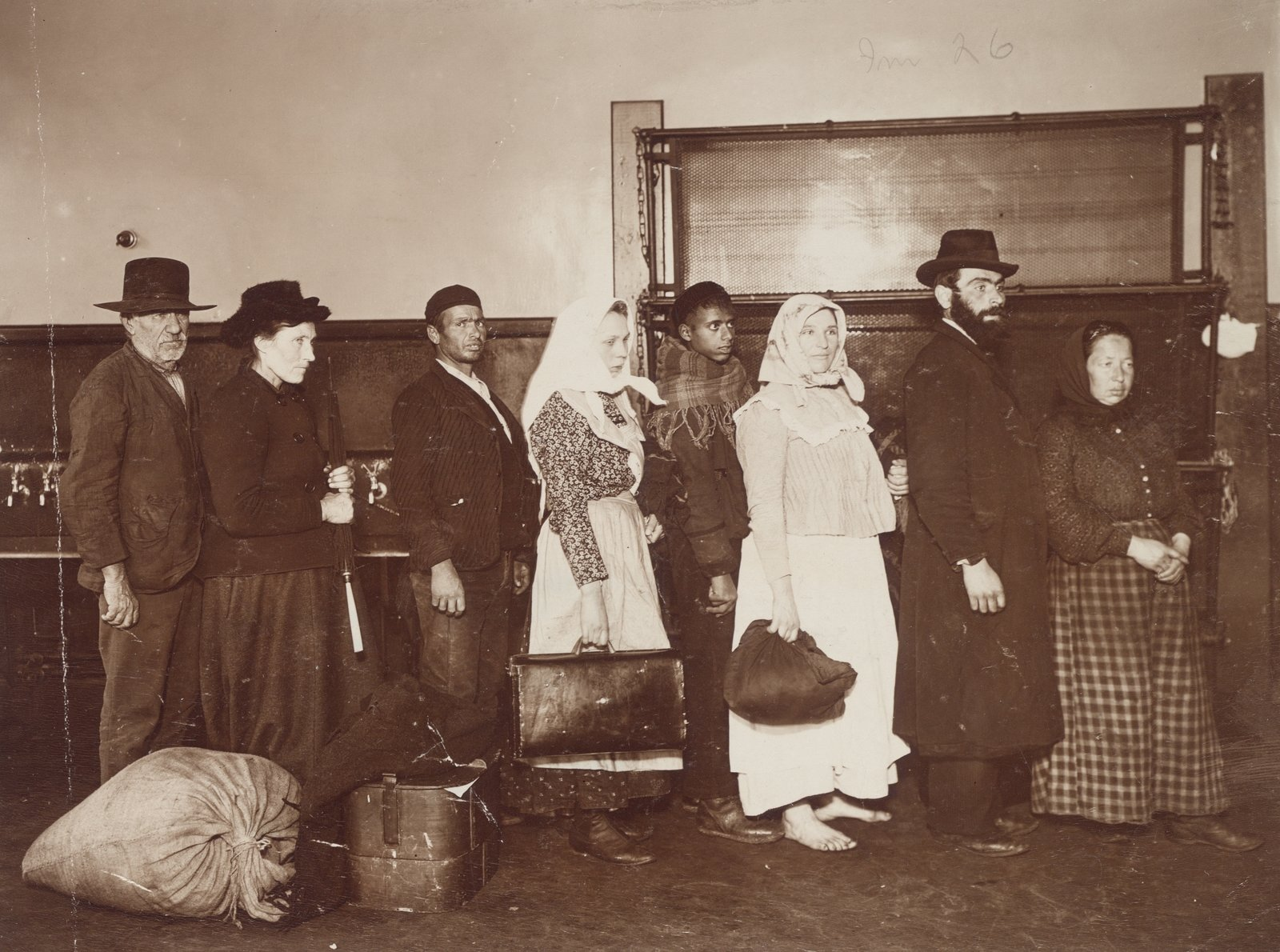 "Excluded Men and Women, Paupers, Convicts, Etc., Regulation of Immigration at the Port of Entry,"" United States Immigrant Station, New York City,, c. 1903 , J. H. Adams, Imaging Department © President and Fellows of Harvard College, In Copyright"