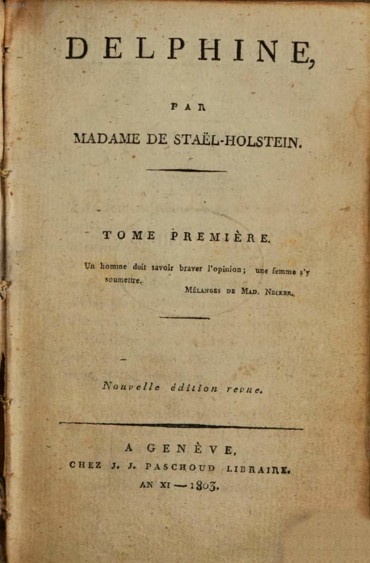 Delphine [title page], Genève, 1803, Madame de Staël, Bavarian State Library, No Copyright - Non-Commercial Use Only