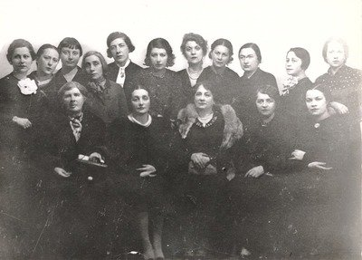 Dora Gabe (first line, second from the left) among members of the club of Bulgarian writers, Unknown photographer, Dora Gabe Public Library - Dobrich, CC0