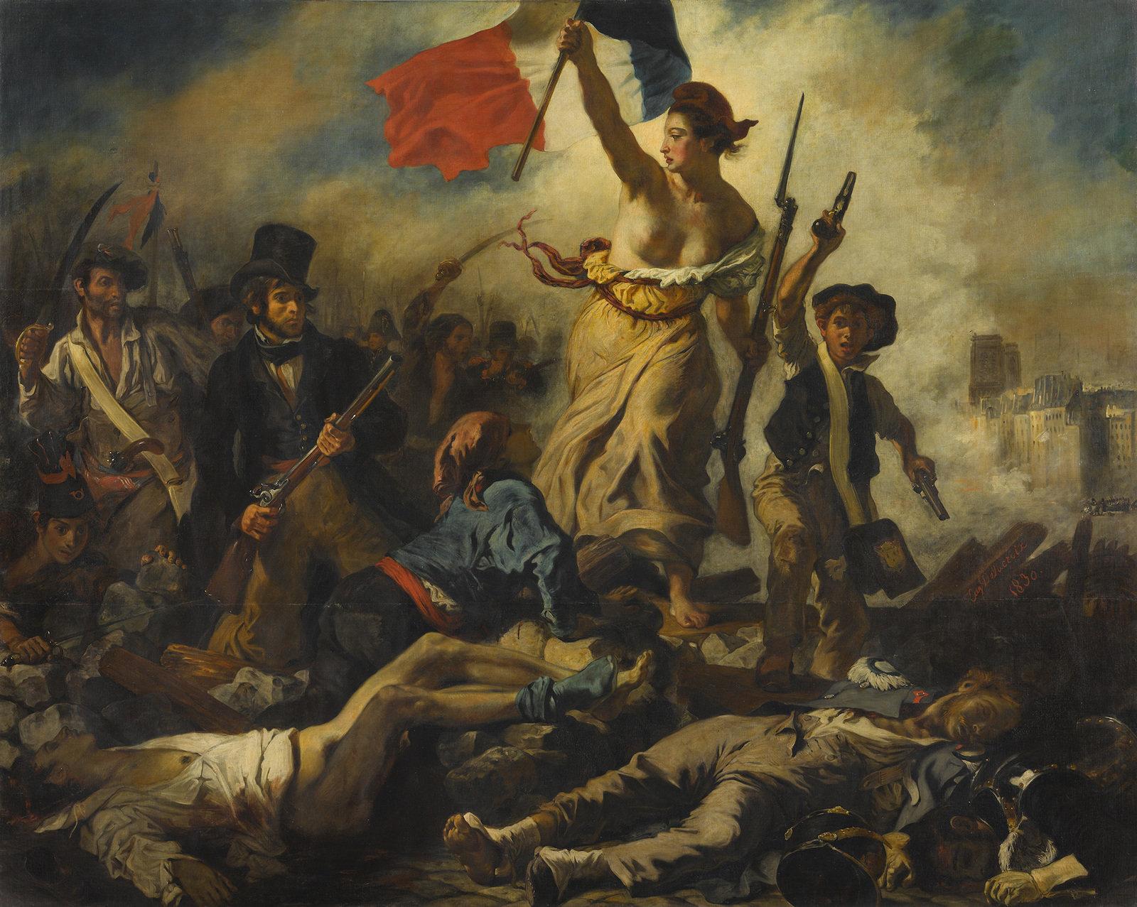La Liberté guidant le peuple, 1830, Eugène Delacroix,  Musée Du Louvre, CC BY-NC-SA