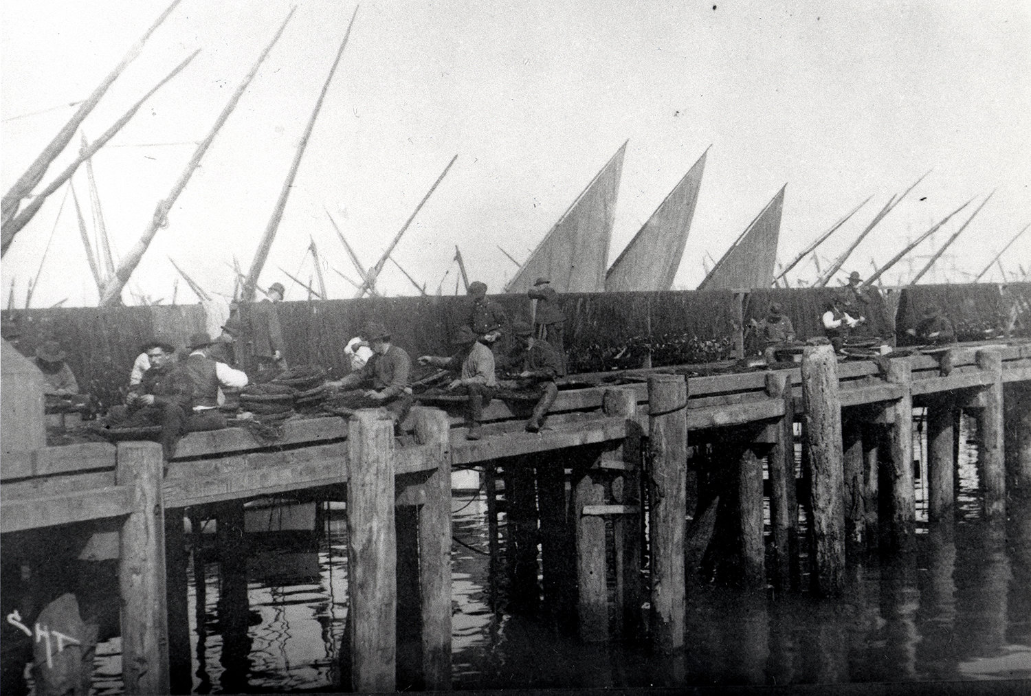 Italian Fishermen Mending Nets on a Wharf in San Francisco, California Harbor, Department of Commerce and Labor. Bureau of Fisheries. 1891, NARA Online Public Access, In Copyright