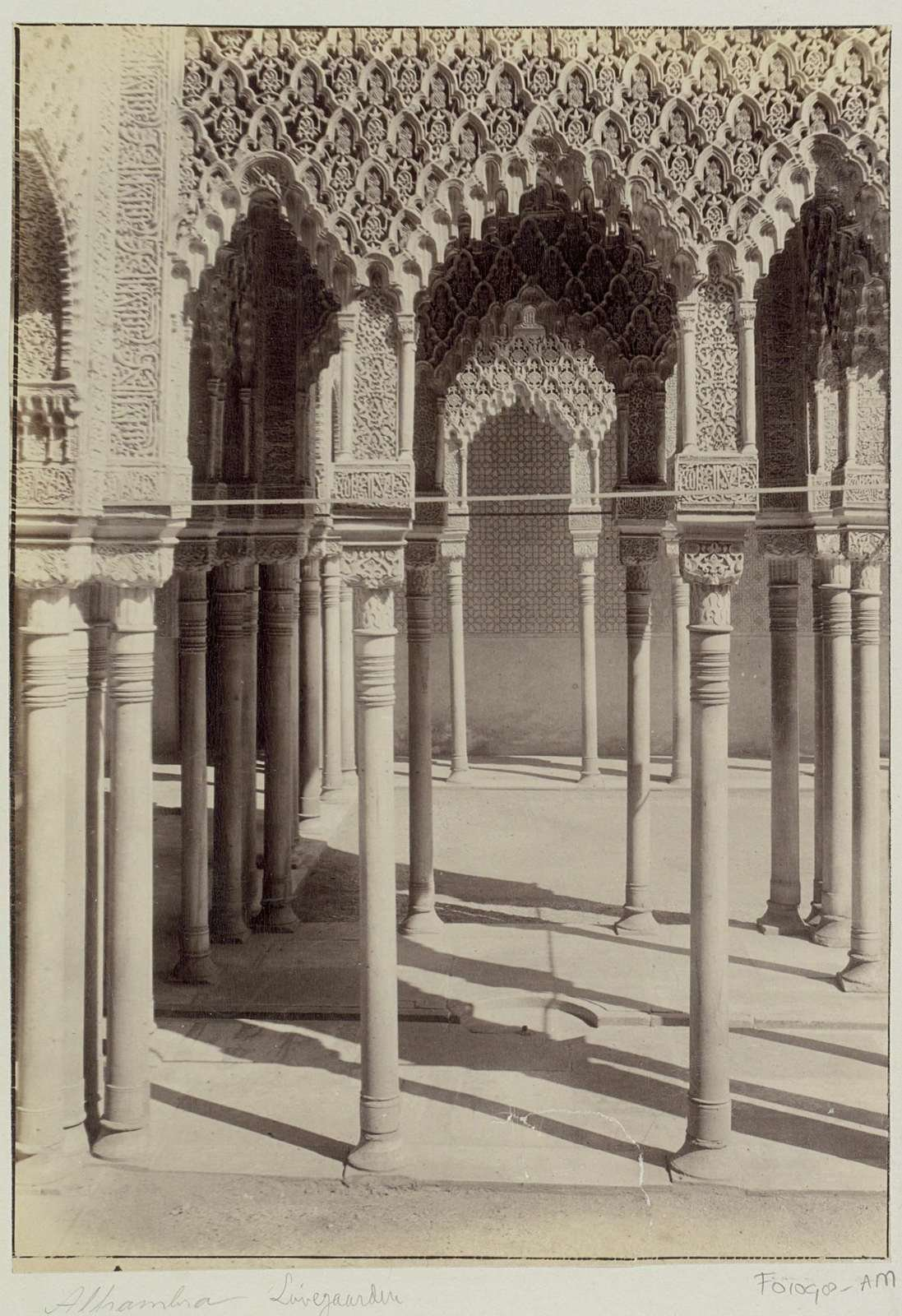 Interior with carved arches of the Alhambra in Granada (Spain), c.1860 - c.1880, anonymous, Rijksmuseum, Public Domain Mark