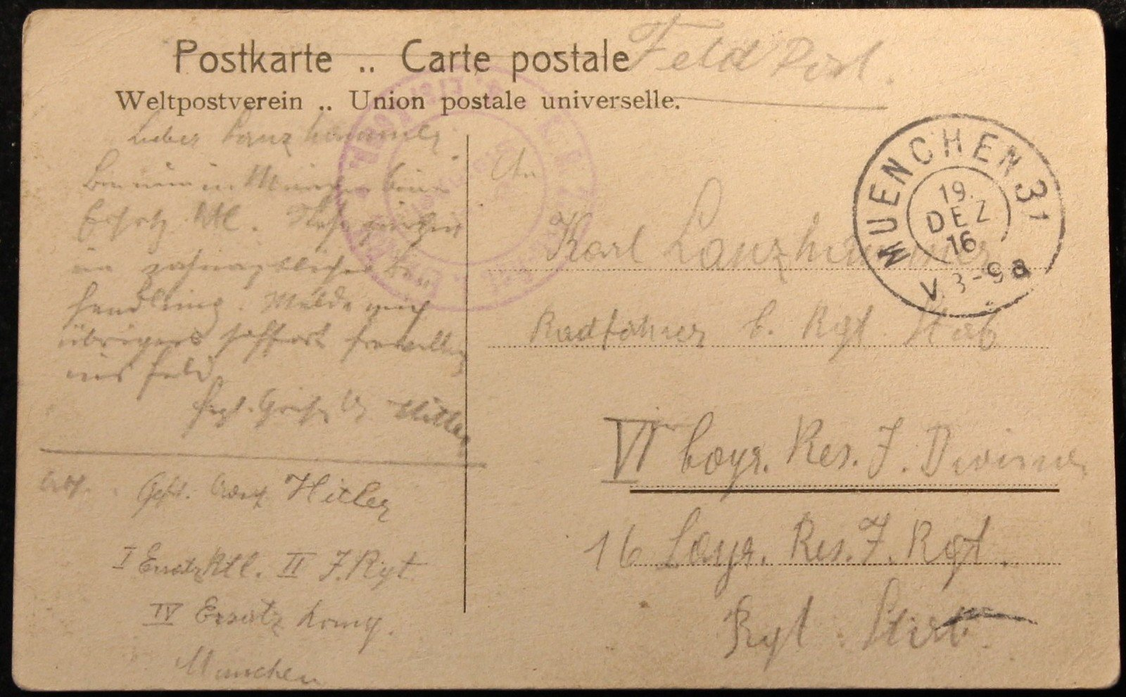 Postcard from Adolf Hitler sent to Karl Lanzhammer (reverse), 19 December 1916, Europeana 1914-1918, CC BY-SA