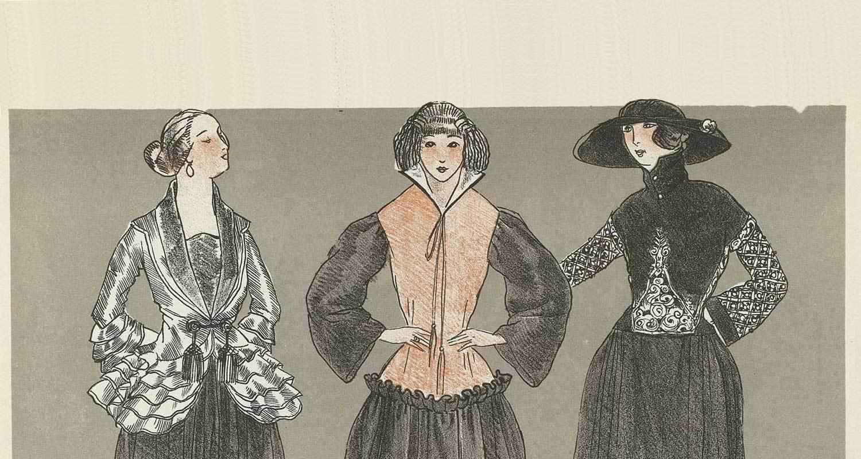 [Three women dressed in gowns by Paul Poiret] in Gazette du Bon Ton, 1920 - No. 7,, Paul Poiret (design), Jean-Louis Boussingault (artwork) , Rijksmuseum, Public Domain Mark