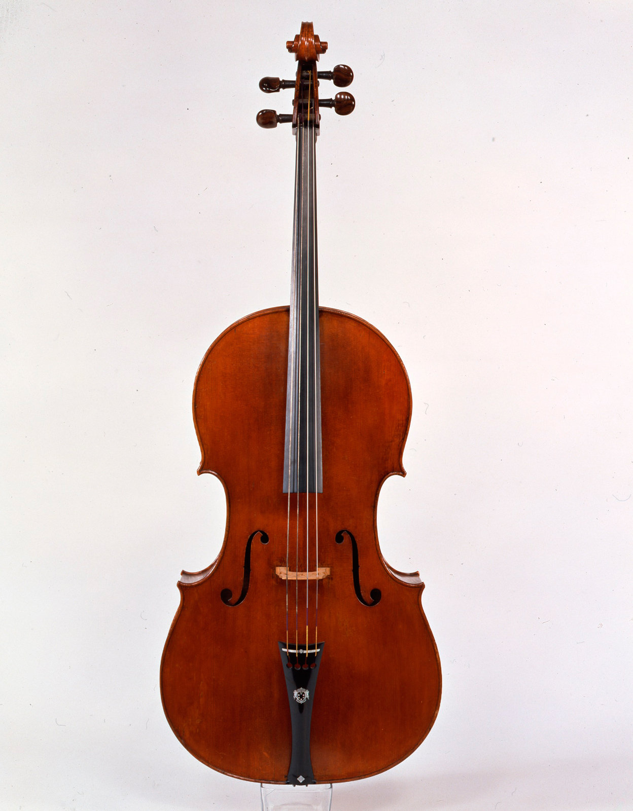 Violoncello, 1690, Antonio Stradivari, [Stradivari adopted several models and sizes for his cellos during his activity. This instrument is one of the only three that survive with the original very large proportions that he adopted in his early production. The large size of the soundbox allowed a deeper tone in the bass, and was later abandoned probably due to innovations in the making of strings.It was made in 1690 as a gift to Grand Prince Ferdinando de' Medici (1663-1713), and was part of quintet formed by two violins (one surviving in Rome, Accademia di S. Cecilia), an alto viola (now in Washington, Library of Congress) and a tenor viola (Florence, Collezione Cherubini).A rare early document survives about the sound of this instrument: it is a letter written as soon as the instruments were delivered stating that «all the virtuosi [of the gran-ducal court] […] are of the same mind in approving them as perfect, but above all speaking of the violoncello they frankly confess they have never heard a more pleasing or more sonorous one.], Galleria dell'Accademia Dipartimento degli strumenti Musicali, Firenze, CC BY-NC-SA