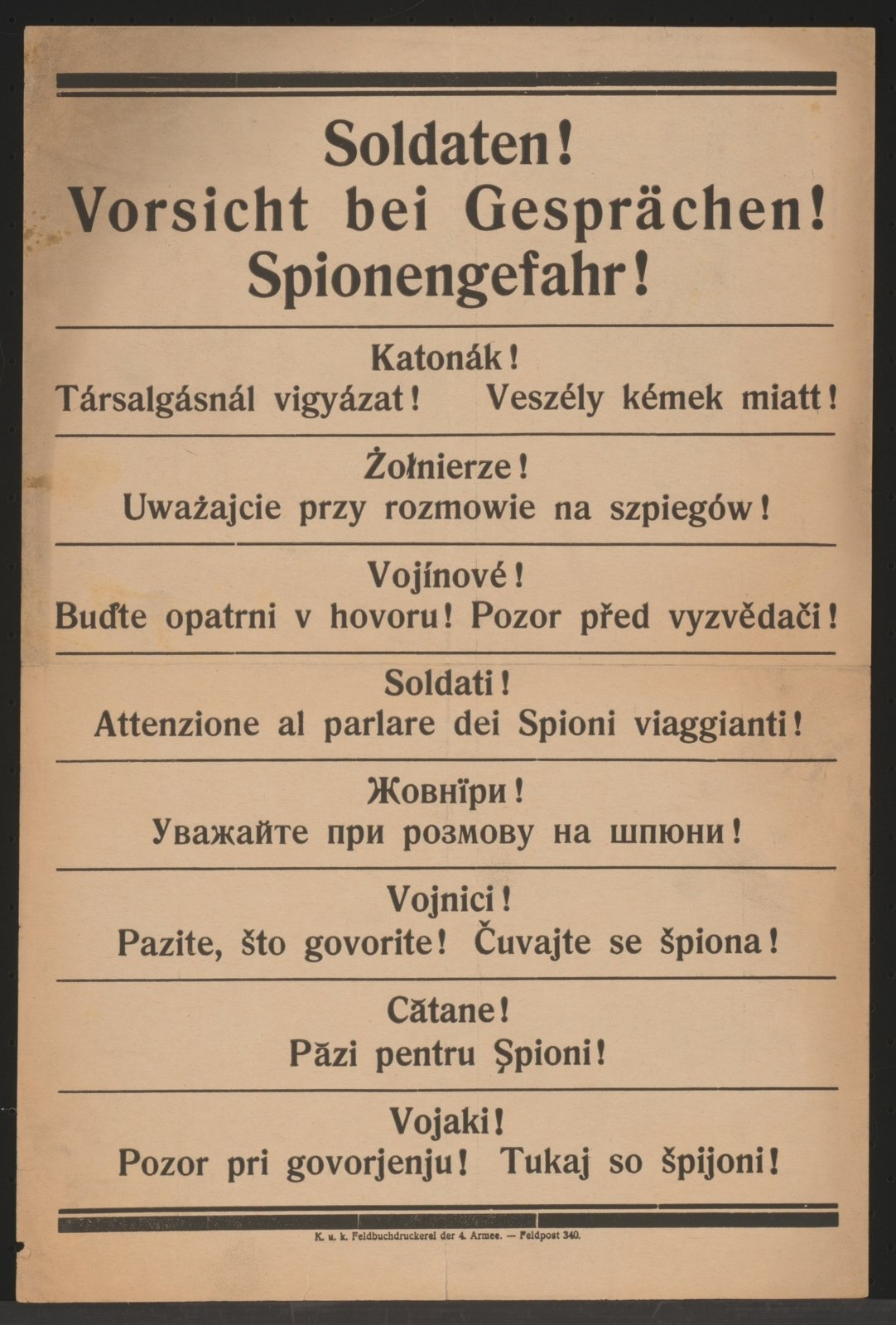 A multilingual poster warns the soldiers from enemy spies behind the lines., K.u.k. Feld-Buchdruckerei der 4. Armee 1916 Kowel, Österreichische Nationalbibliothek - Austrian National Library, Public Domain Mark