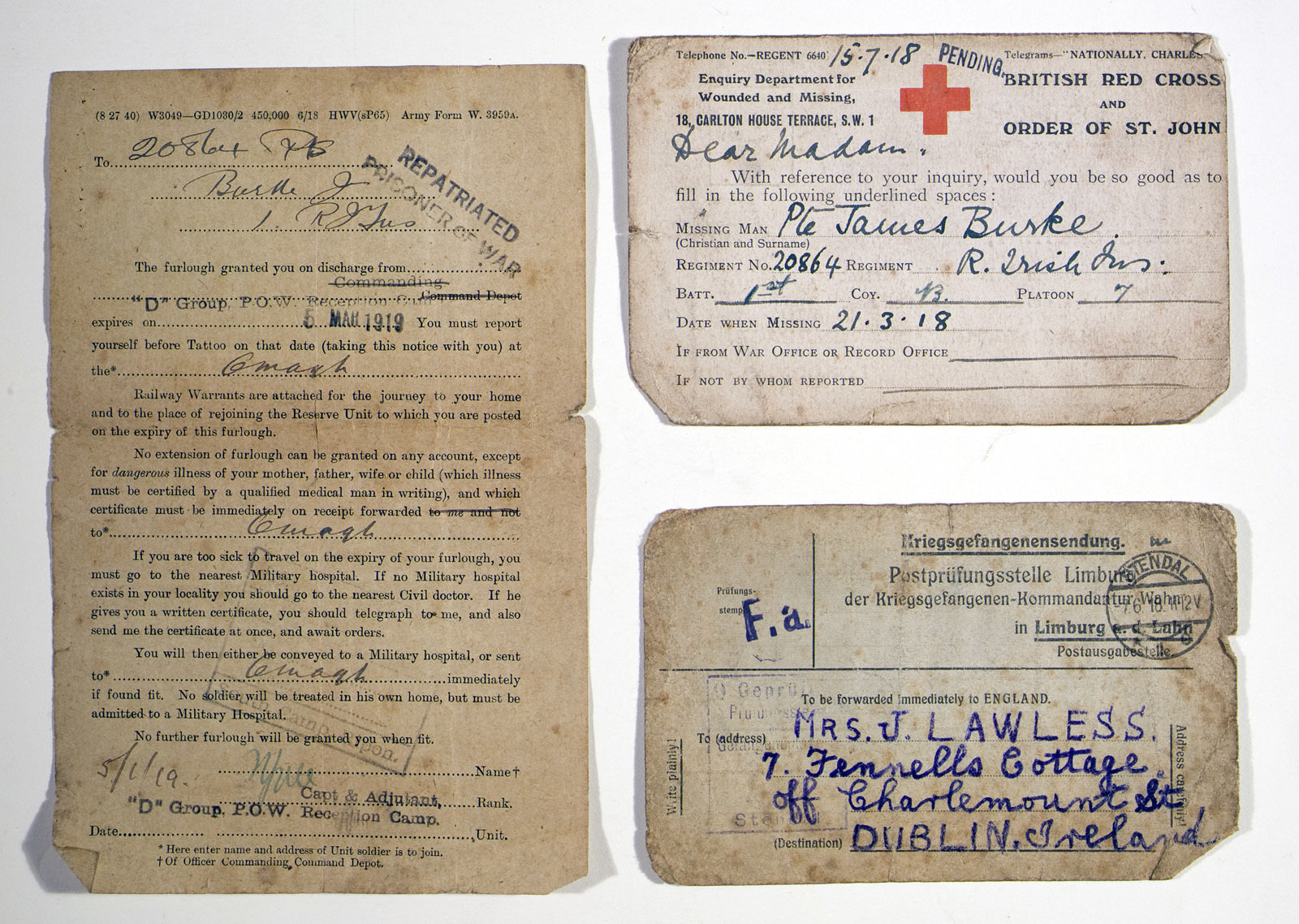 Reverse of items relating to James Burke's experiences as a POW, March 1919, Europeana 1914-1918 / Don Mullan, CC BY-NC-SA