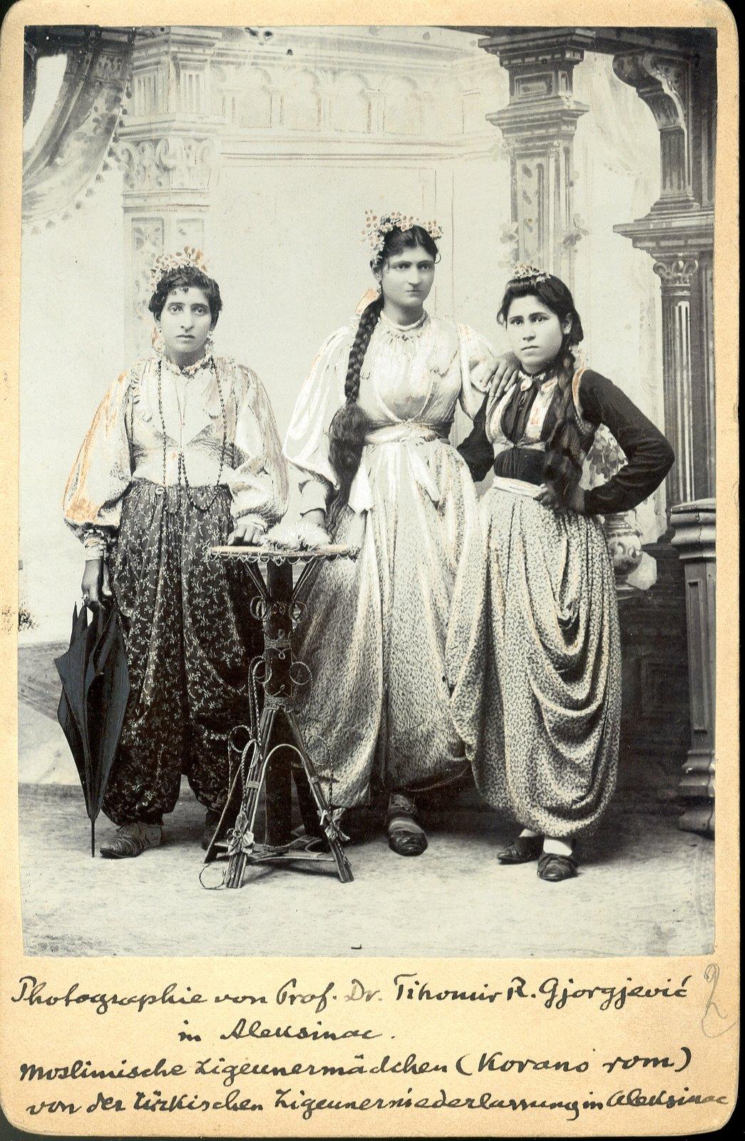 Three recently immigrated Roma (Korano Rom) girls in festive dress, 1900s , Mileta Rajković, National Library of Serbia, CC BY-NC