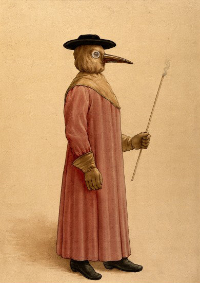 A physician wearing a seventeenth century plague preventive costume 17th century., 1910, The Wellcome Library, CC BY