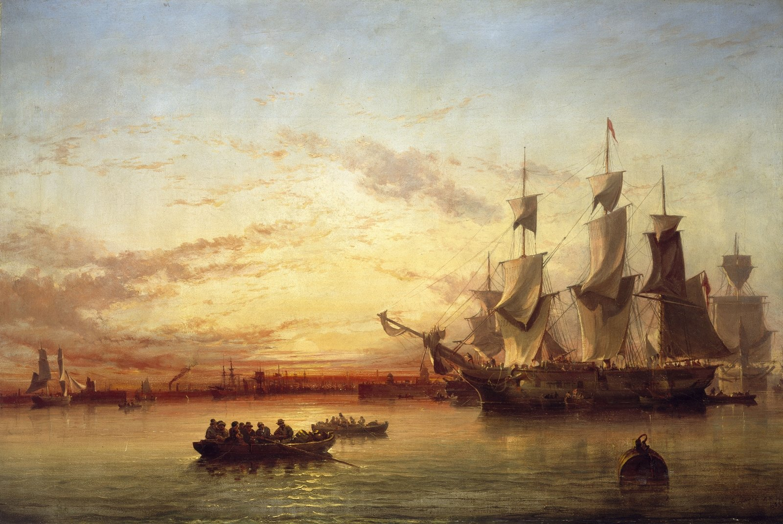 An Emigrant Ship, Dublin Bay, Sunset, 1853, Edwin Hayes, National gallery of Ireland, CC BY-NC-ND
