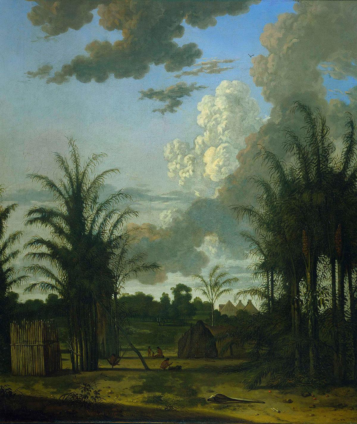 A plantation in Suriname, 1707, Dirk Valkenburg, Rijksmuseum, Public Domain Mark