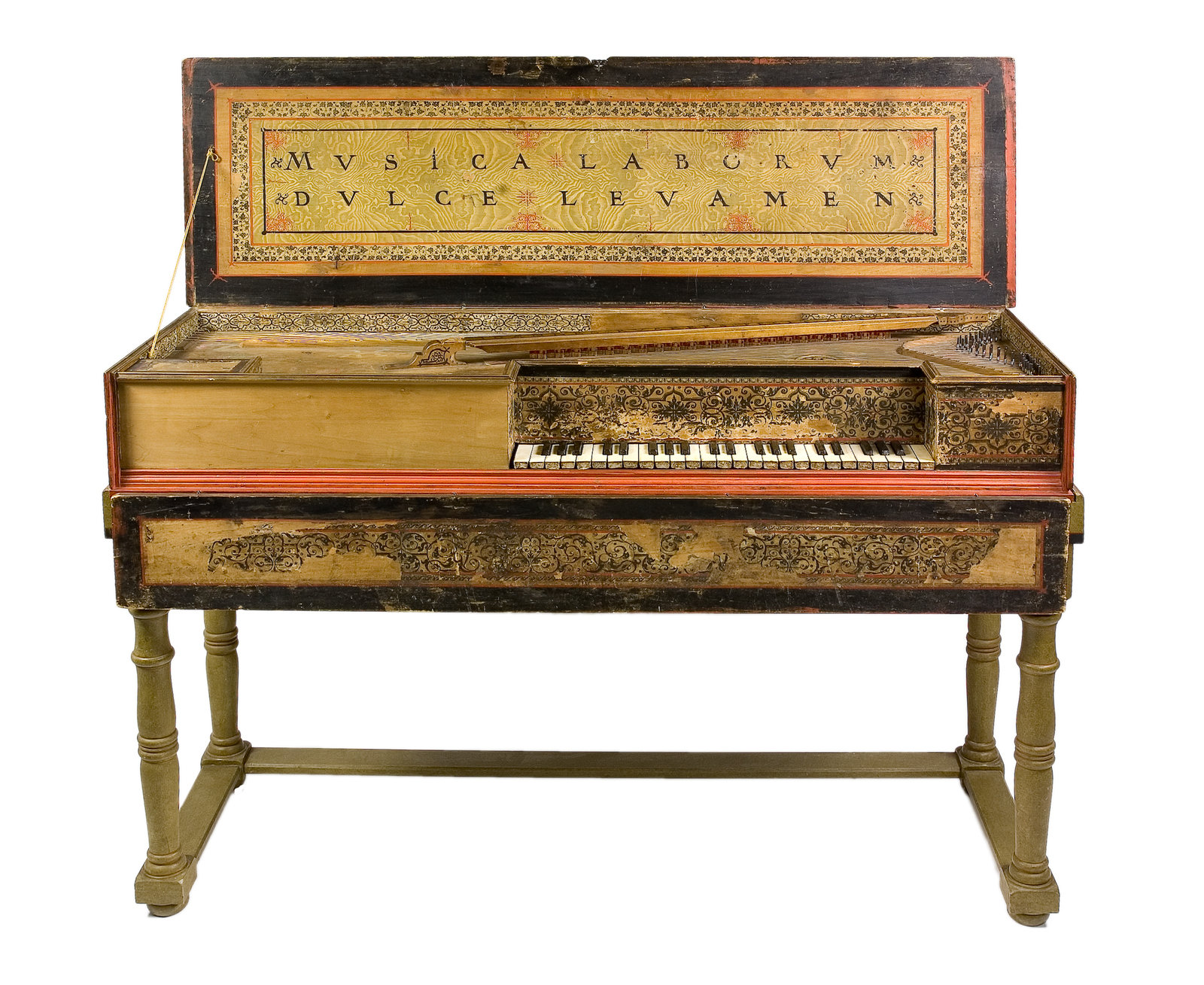 "Virginal, Ioannes Ruckers, [In a former restoration the compass was extended to C-c3 chromatically (49 keys). When the museum acquired the instrument, the compass was restored to the original with short octave C/E-c3 (45 keys). The original left part of the front and a part of the soundboard have been lost and have been replaced. The gilt rose shows a harp-playing angel between the letters ""I R"".], Musikmuseet, Stockholm, CC BY-NC-SA"