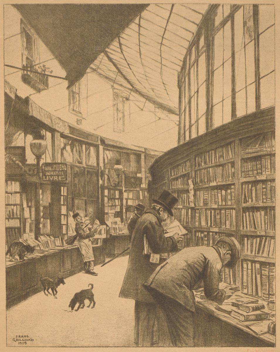 Bookshop Moens in the Galerie Bortier in Brussels, 1919, François Gailliard, Rijksmuseum, Public Domain Mark
