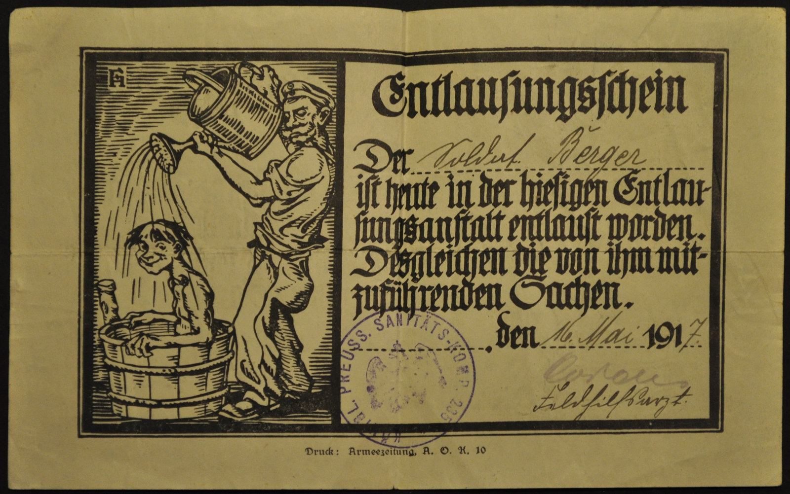 Delousing chit with a stamp on it, 1917, Europeana 1914- 1918 / Helga Berger, CC BY-SA