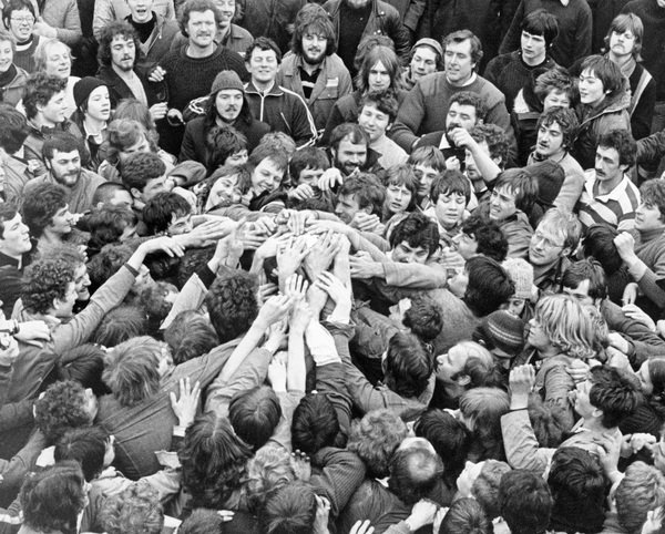 Shrove Tuesday Football, Ashbourne, 1981, Abigail Evans, Picture the Past OAI feed, In Copyright