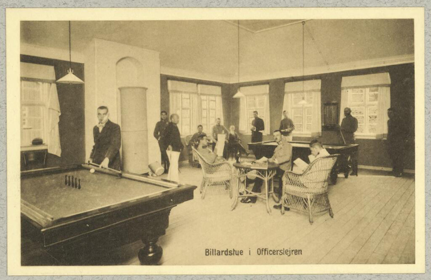Billiards game room for officers at POW camp , Munksgaard, Aage, The Royal Library: The National Library of Denmark and Copenhagen University Library, CC BY-NC-ND