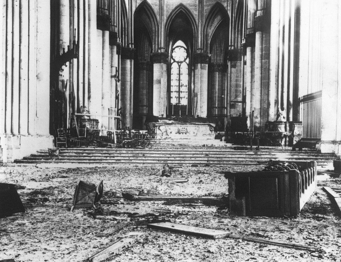 Ruins of the interiors of Reims Cathedral after the bombardment, 1914, Agence Rol. Agence photographique, Bibliothèque nationale de France, No Copyright - Other Known Legal Restrictions