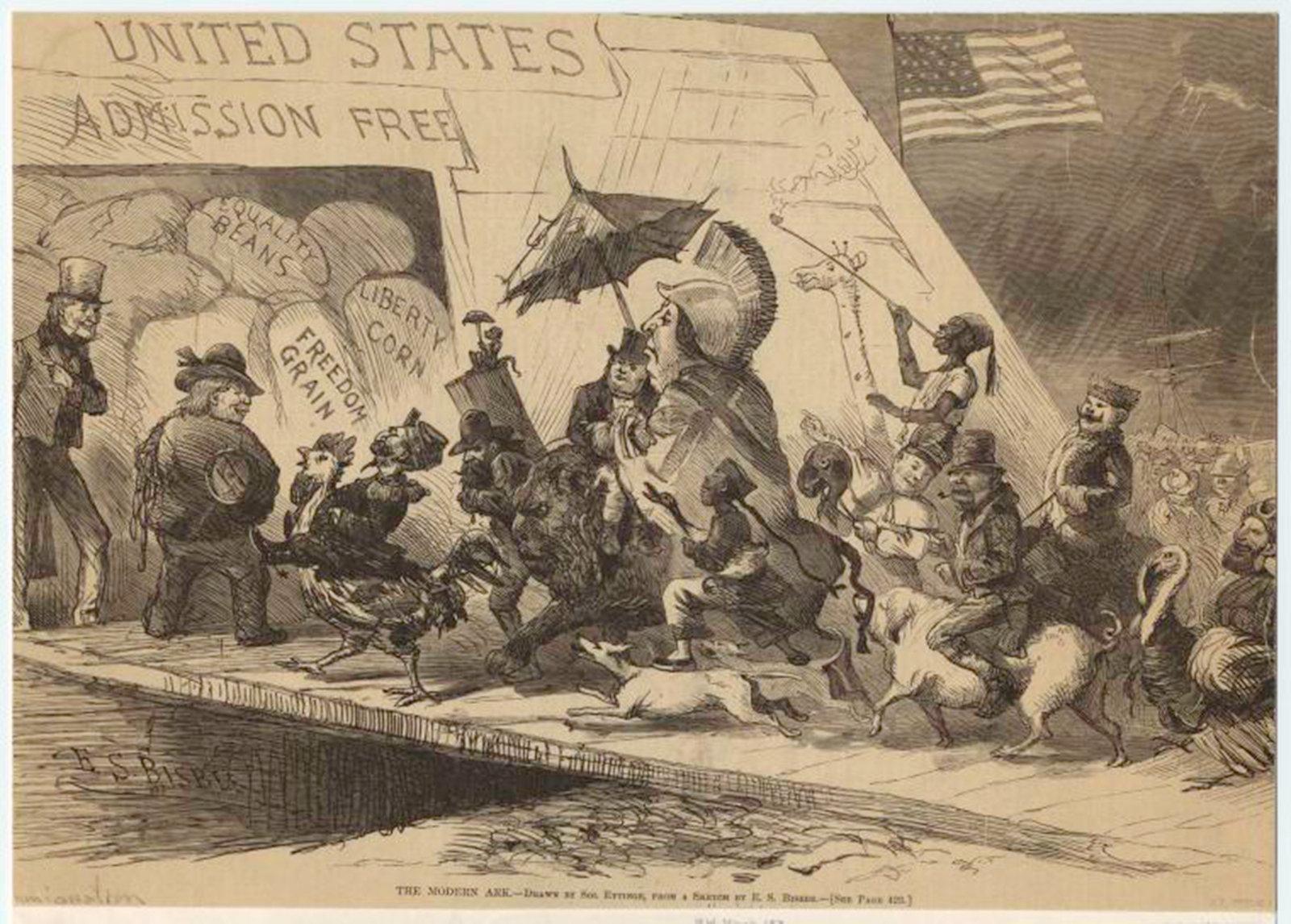 The modern ark, Bisbee, Ezra; Eytinge, Solomon 1871, New York, NYPL Digital Gallery Harper's weekly : a journal of civilization, Public Domain Mark