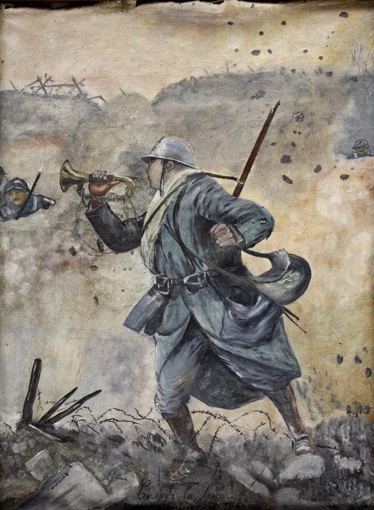 Le soldat Cellier sonnant l'armistice au clairon, Omer Preux, Europeana 1914-1918 / Chantal Pichon, CC BY-SA