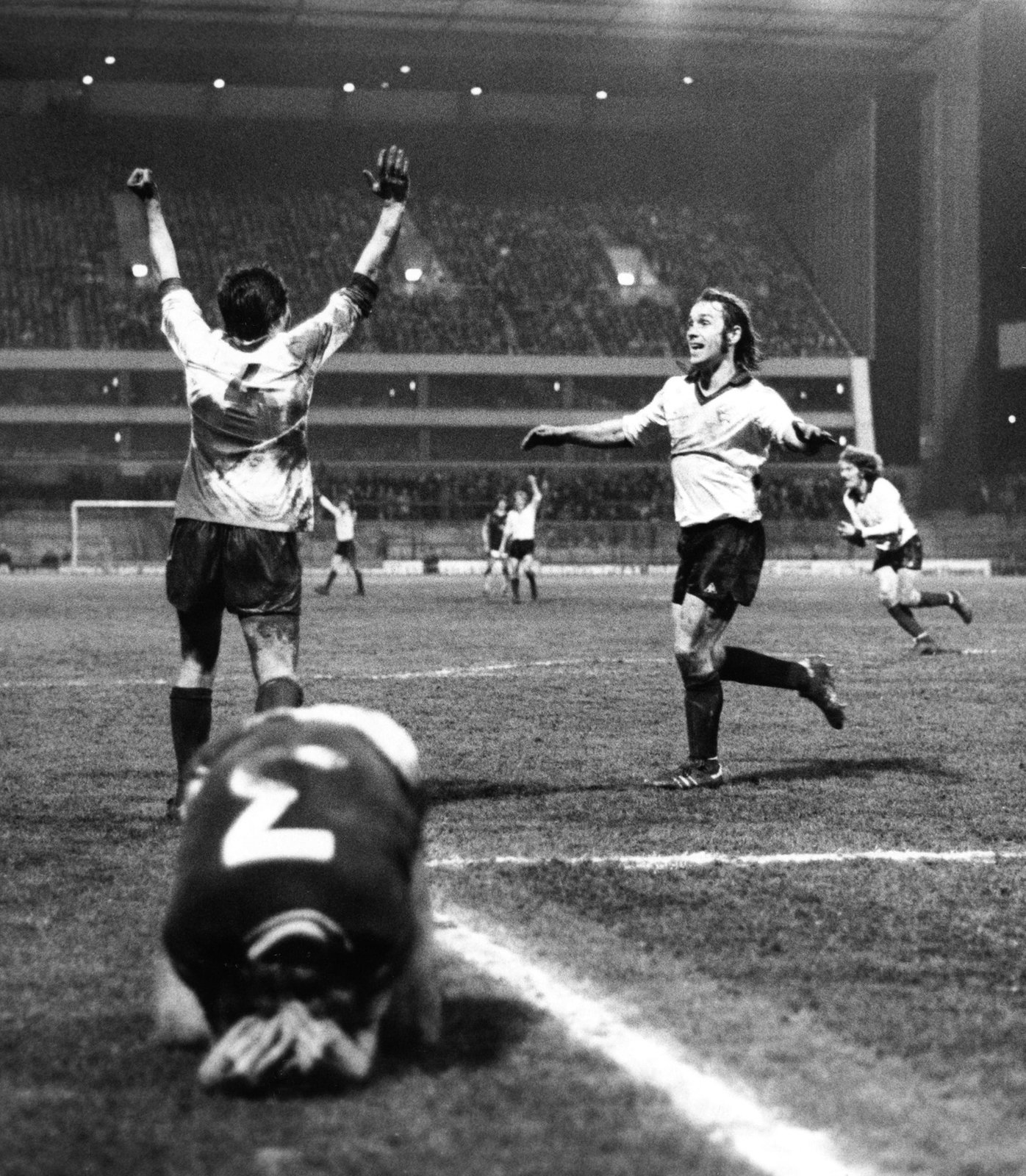Derby County's Billy Caskey and Steve Powell celebrate, 1979 , Derby Evening Telegraph, Picture the Past OAI feed, In Copyright