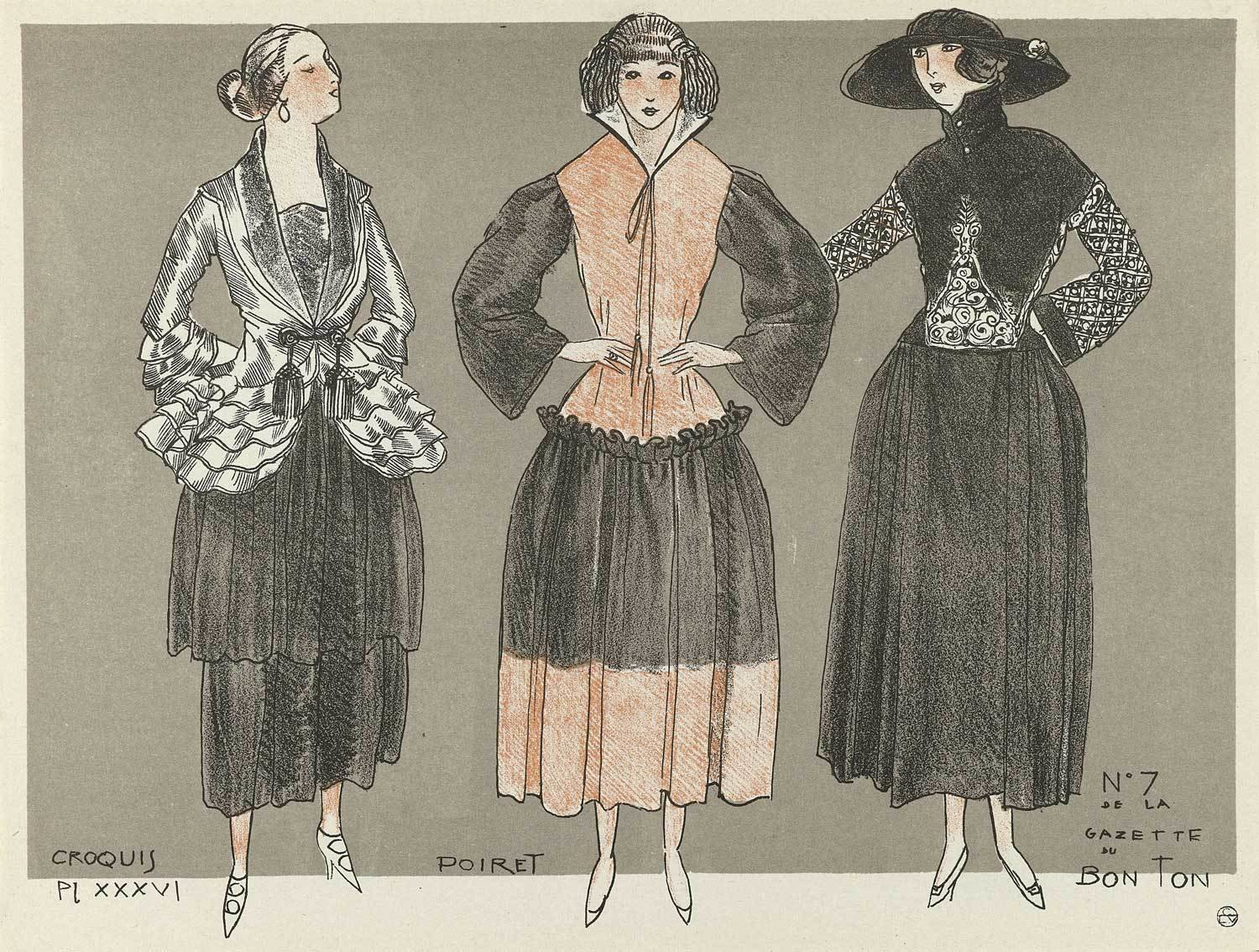 [Three women dressed in gowns by Paul Poiret] in Gazette du Bon Ton, 1920 - No. 7, Paul Poiret (design), Jean-Louis Boussingault (artwork), Rijksmuseum, Public Domain Mark