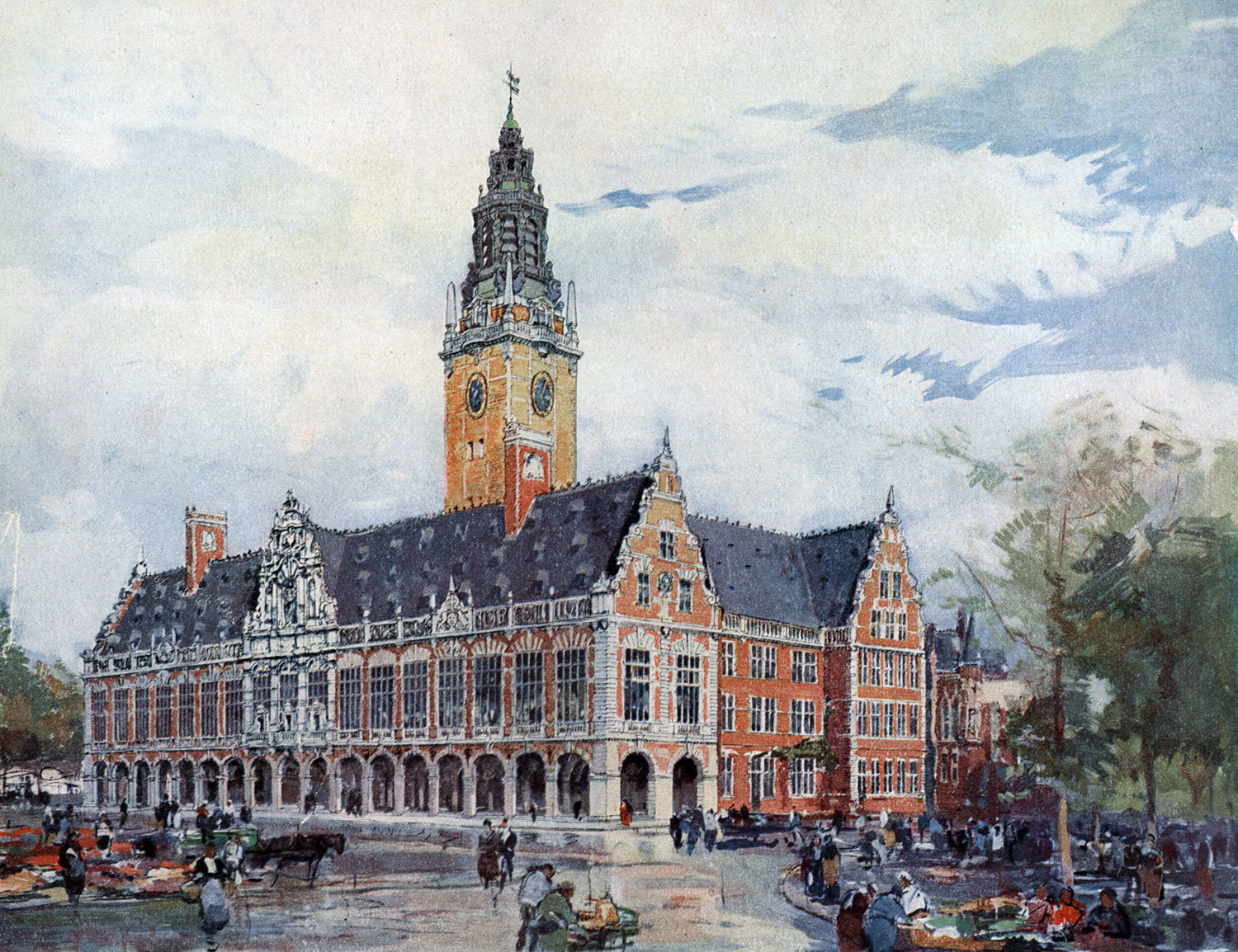 The University of Leuven Library. Watercolor evoking the future aspect of the building, designed by architects Whitney Warren and Charles D. Wetmore, Ghent University Library, CC BY-SA