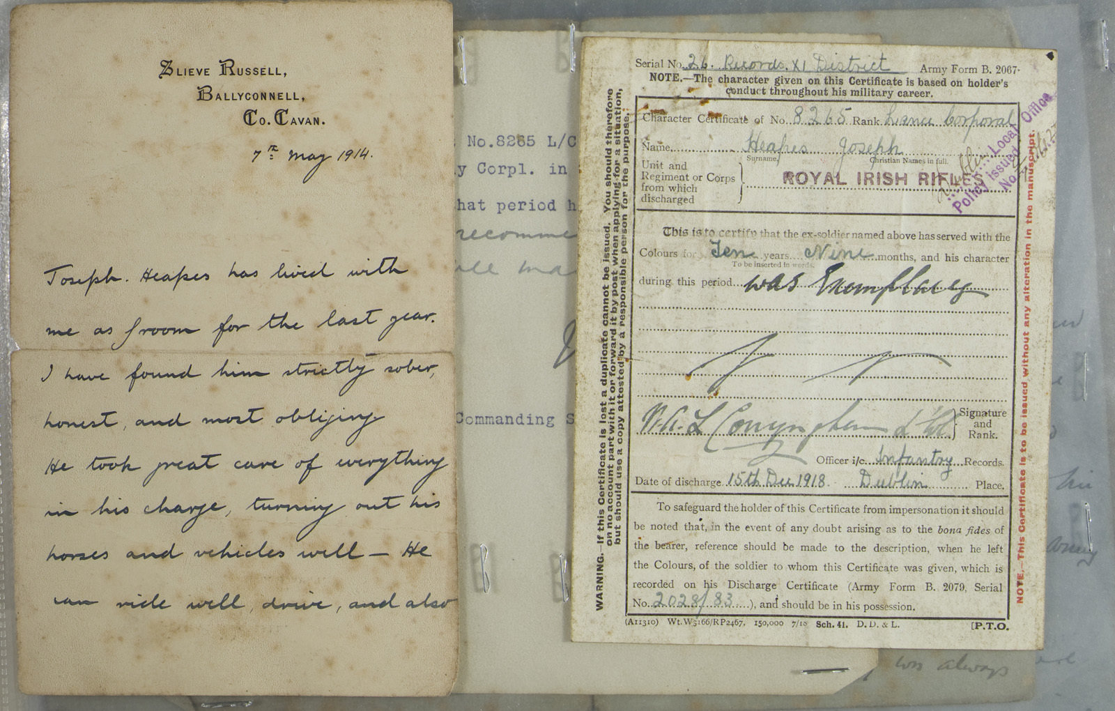 Discharge certificate and testimonial of Joseph Heapes, Dublin, Europeana 1914-1918 / Máire Uí Éafa, CC BY-SA