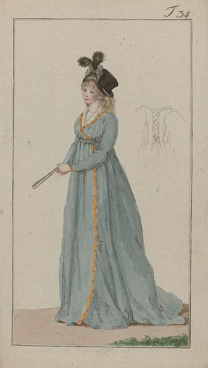 Journal des Luxus und der Moden, 1797, T 34, Georg Melchior Kraus, Rijksmuseum, Public Domain Mark