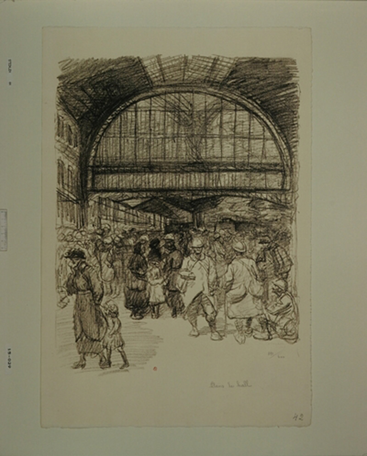 Hall of a station during wartime, Steinlen, Théophile Alexandre, Koninklijke Bibliotheek van België - Royal Library of Belgium (KBR), In Copyright