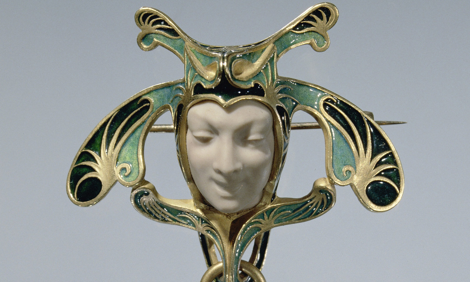 Broche in de vorm van een narrenkop , Lalique, René, Rijksmuseum, Public Domain Mark