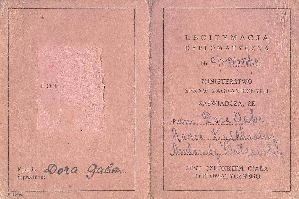 Dora Gabe's diplomatic identity card, Polish Ministry of Foreign Affairs, Bulgarian Archives State Agency, Public Domain Mark
