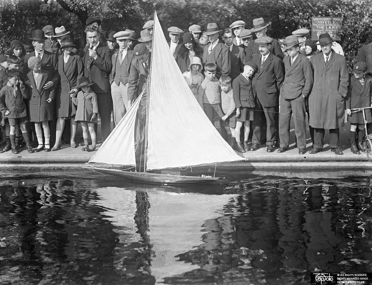 Admiring a model yacht in Victoria Park, 1933, John Topham, TopFoto.co.uk, In Copyright