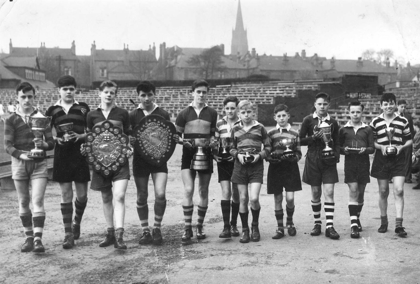 Leeds Rugby League Club Ground, representatives of winning rugby league school teams, 1954, Ron Davies, Leodis - A photographic archive of Leeds, In Copyright