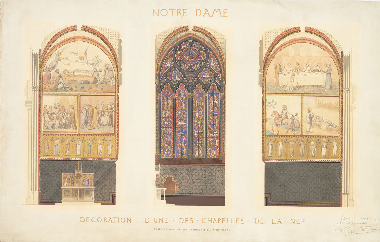 Plan for the Renovation of a Chapel in the Nave of the Cathedral of Notre-Dame, Paris,1843, Eugène-Emmanuel Viollet-le-Duc, Metropolitan Museum of Art, CC0