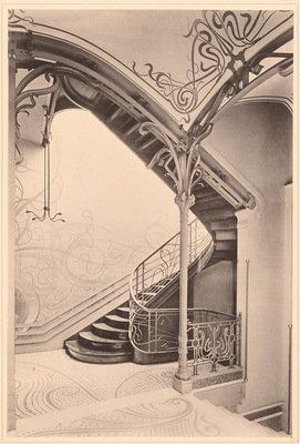Wohnhaus, Rue de Turin, Brussels, 1900, Victor Horta, Architekturmuseum der Technischen Universität Berlin in der Universitätsbibliothek, CC BY-NC-SA