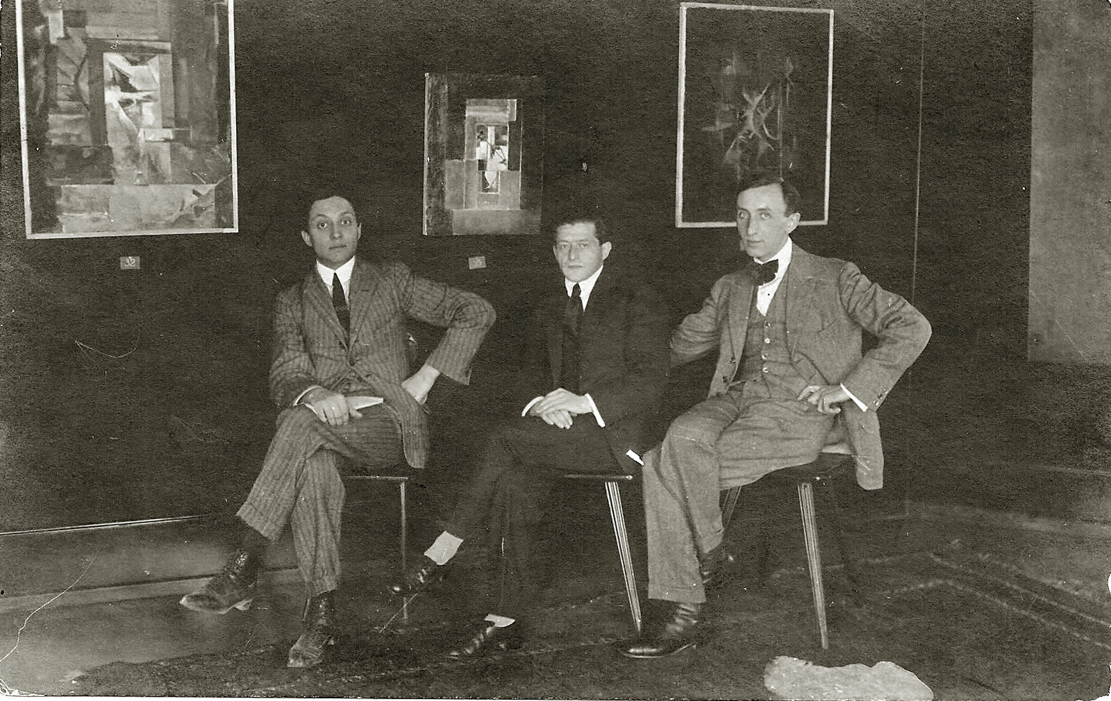 Marcel Janco, first from the left, at the Wolfsberg gallery, Zurich, September 1918, Unknown, Janco Archives, Copyright Not Evaluated