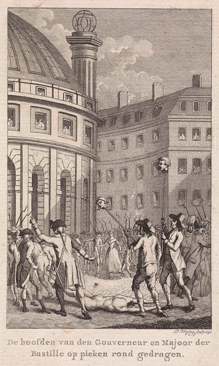 French soldiers carry the heads of Launay and De Flesselles, Governor and Major of the Bastille, on peaks through the streets of Paris, Daniël Vrijdag, Rijksmuseum, Public Domain Mark