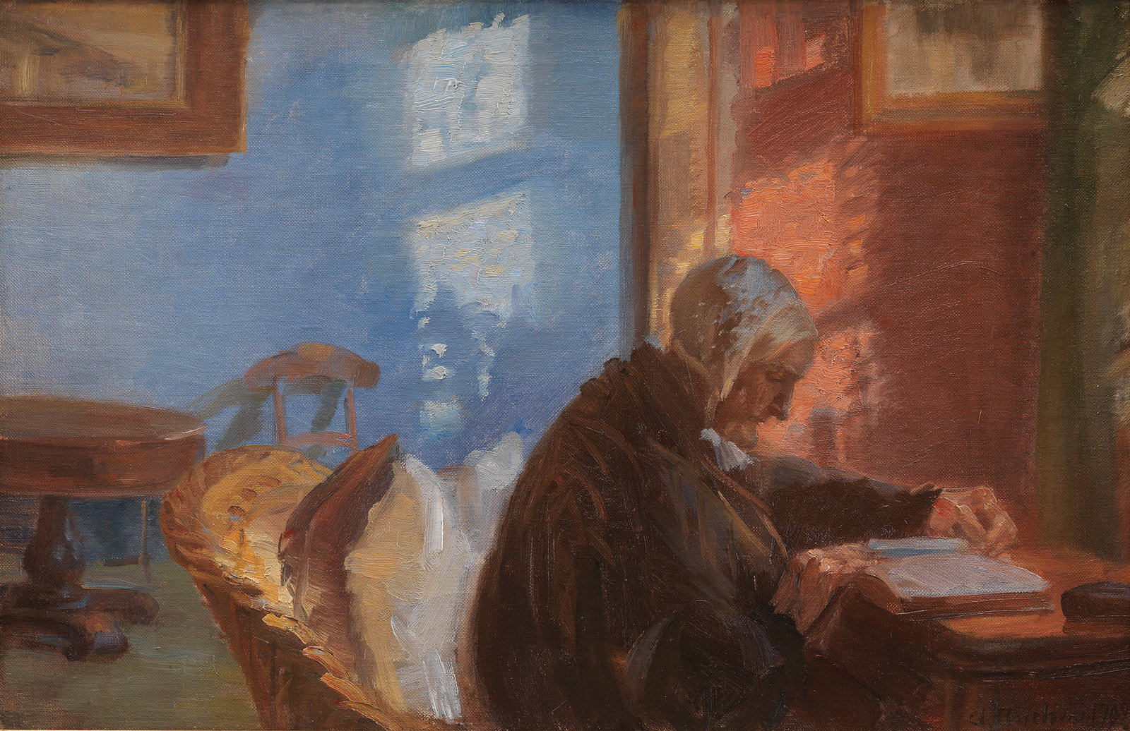 The Artist's Mother Ane Hedvig Brøndum in the Blue Room, 1909, Anna Ancher, National Gallery of Denmark, CC0