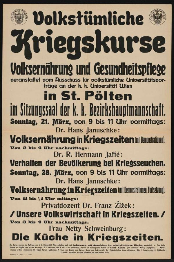 Courses for the civil population about survival in times of war are offered., 1915-03 Wien, Österreichische Nationalbibliothek - Austrian National Library, CC BY-SA