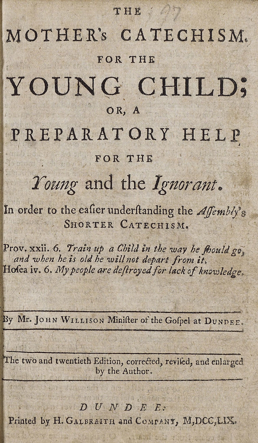 Mother's catechism for the young child, 1759, John Willison, National Library of Scotland, Public Domain Mark