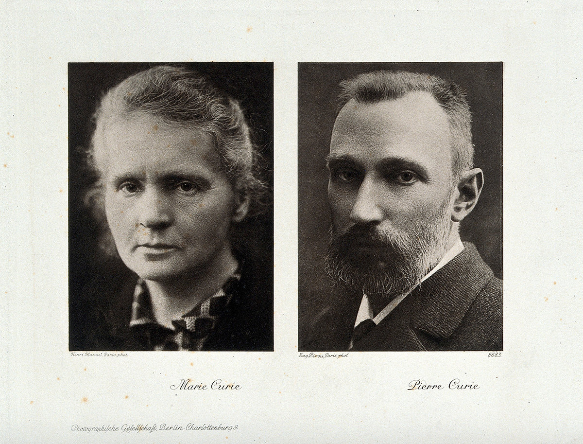 Portraits of Marie and Pierre Curie, Photogravure after Henri Manuel and Eugene Pirou, Wellcome Collection, CC BY