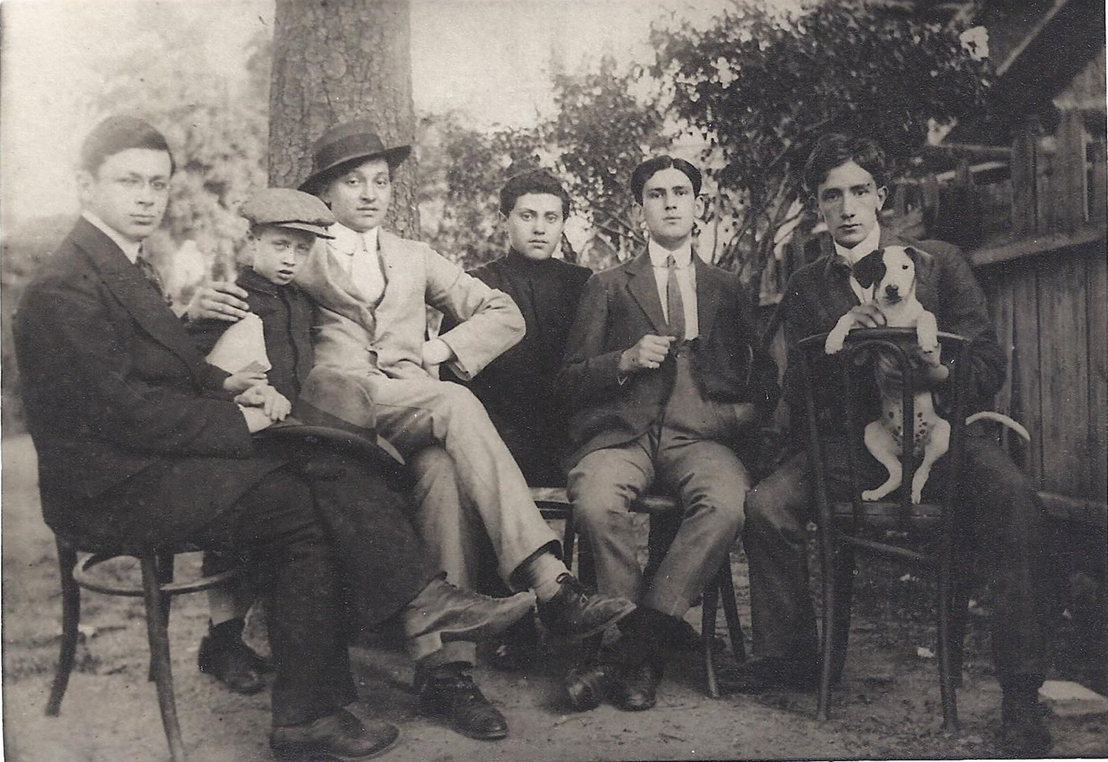 Tristan Tzara, Georges Janco, Marcel Janco, Jules Janco, their friend Poldi Chapier, and Ion Vinea, Bucharest, 1913, , Josine Ianco-Starrels Collection, Copyright Not Evaluated
