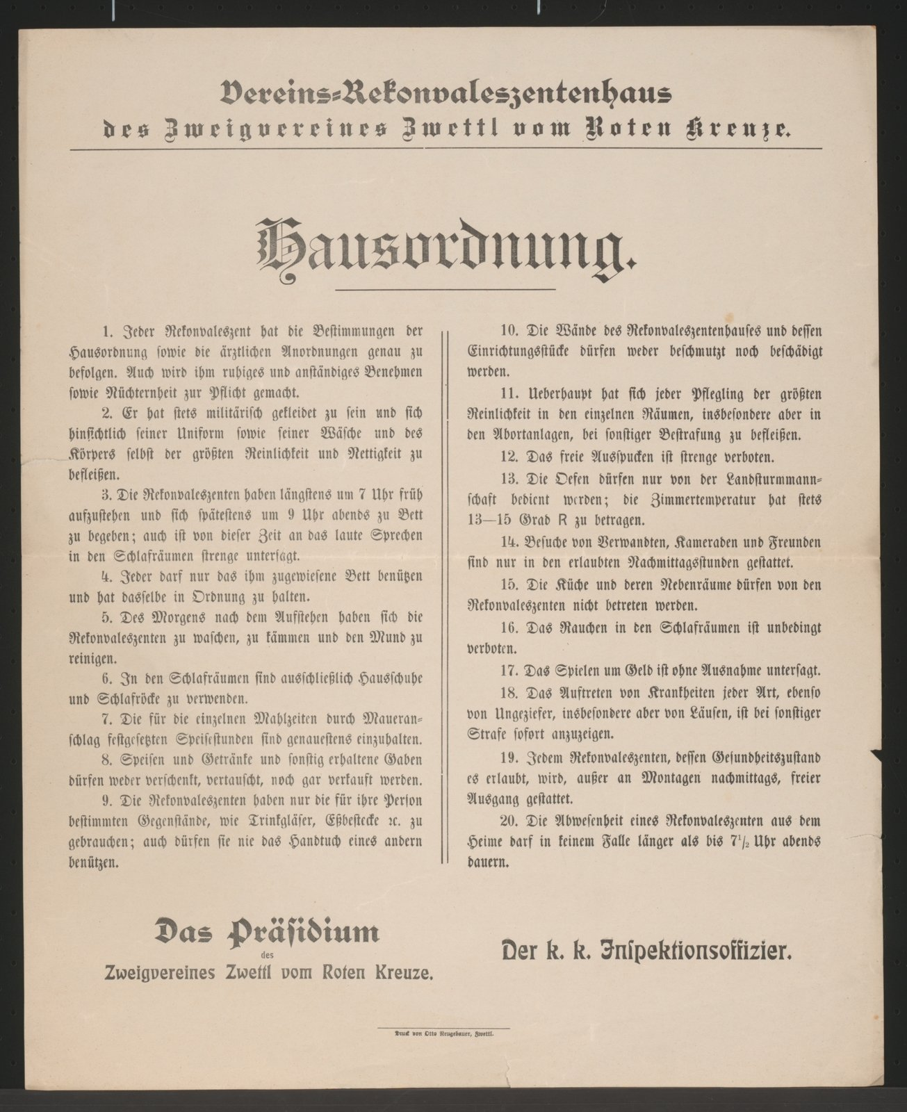 House Rules by an Austrian hospital: The life of the soldiers remains strictly regulated even during an injury or disease., 1916 Zwettl, Österreichische Nationalbibliothek - Austrian National Library, Public Domain Mark