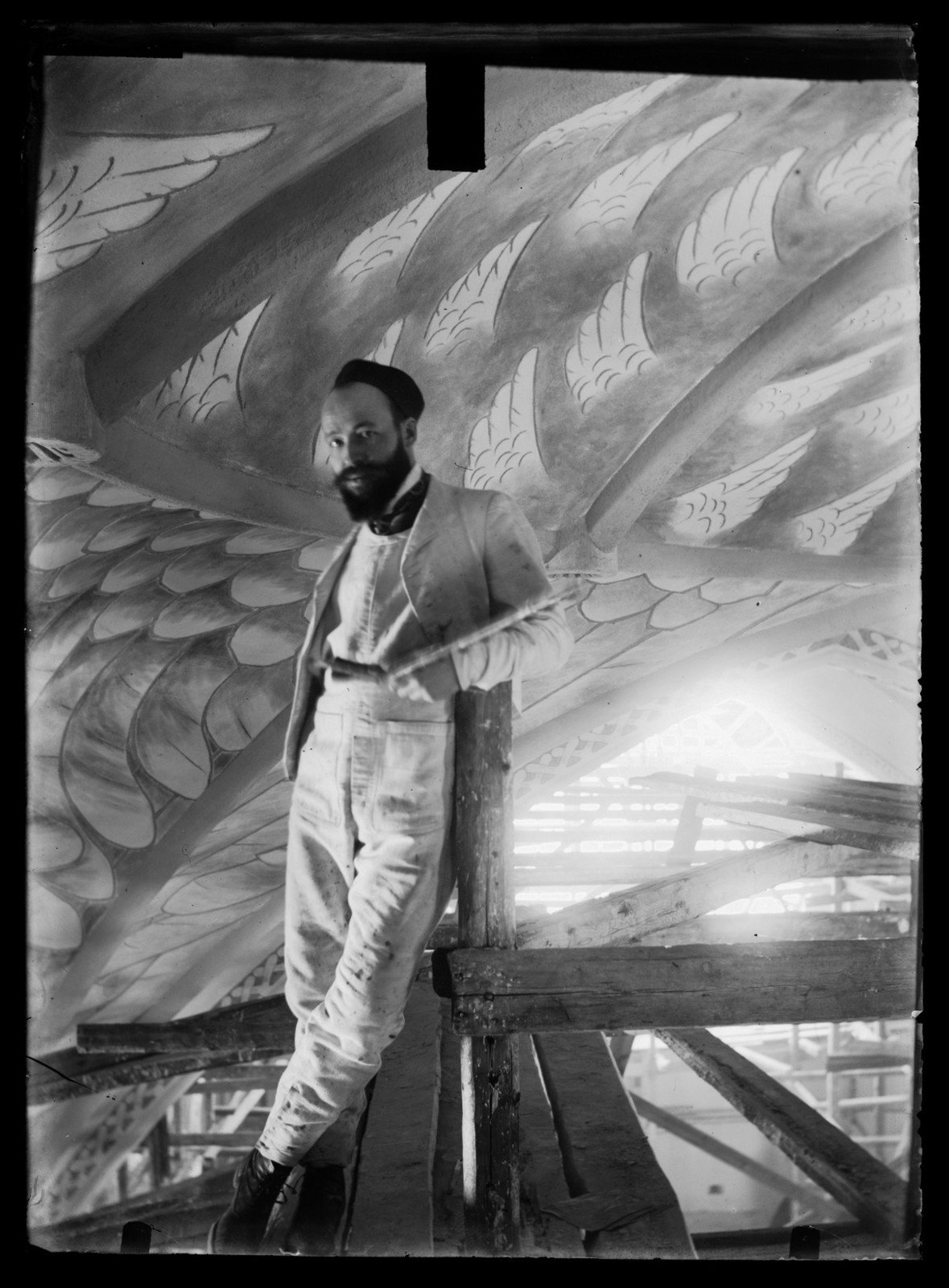 [At work on the ceiling fresco at Tampere], 1904, Hugo Simberg, Finnish National Gallery, CC BY